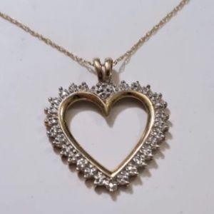 Vintage 10K Y & W Gold Diamond Heart On 14K Chain